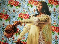 'Fake Official Portrait of First Lady Michelle Obama' by Kehinde Wiley (1977-), 2018